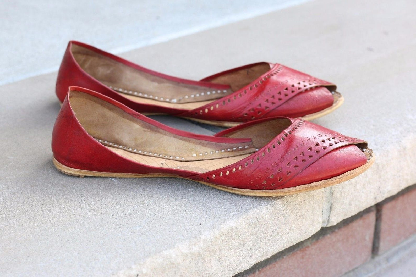 afeith decontra by naraam : handmade slip on all genuine leather ballet flats for women moroccan style khussa open toe