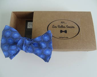 Bow tie knotted fabric Luc blue geometric cotton