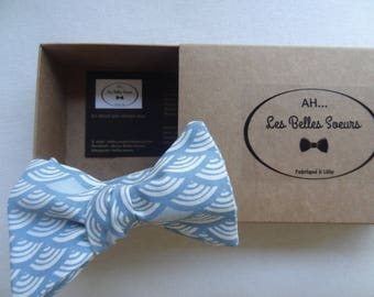 Bow tie knotted fabric Maxime Japanese blue fan
