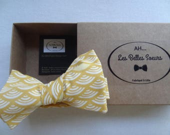 Bow tie knotted fabric Leopold Japanese fan yellow