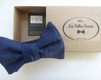 Gustave bow tie knotted fabric Navy Blue plain