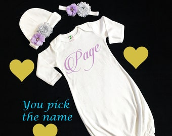 23344d5ca white baby gown - girls gown - girls coming home outfit - newborn girls gown  - newborn gown - custom baby girl gown - newborn baby girl gown