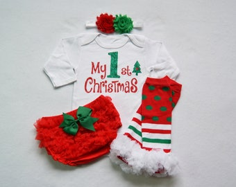 da8062d102055 my 1st christmas baby girl christmas outfit - red and green baby girl  christmas- my first christmas baby girl outfit - my 1st christmas baby