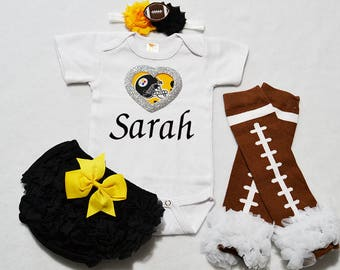 pittsburgh steelers baby girl outfit - baby girl steelers outfit - girls steelers outfit - steelers baby gift - pittsburgh steeler girl gift
