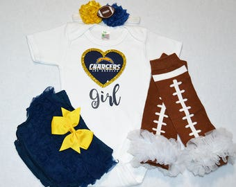 san diego chargers baby girl outfit - baby girls chargers outfit - chargers baby girl football outfit - san diego charger football baby girl