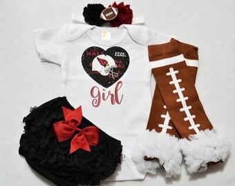 arizona cardinals baby girl outfit - baby girls cardinals outfit - girls cardinals football outfit - arizona cardinals football baby girl