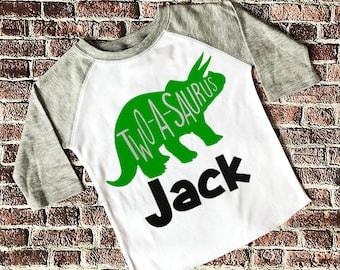 Boys 2nd Birthday Shirt Dinosaur Two A Saurus Theme Twoasaurus