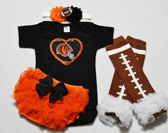 cincinnati bengals baby girl outfit - baby girl bengals outfit - girls bengals outfit - cincinnati bengals baby gift - bengals girl gift