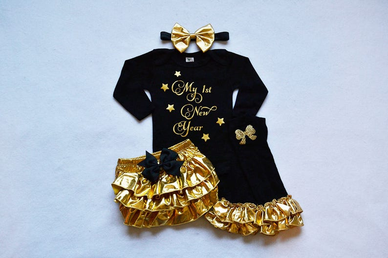3878c62635fa 2019 my 1st new years baby girl outfit baby girl new years | Etsy