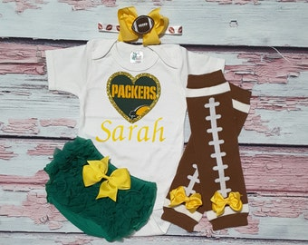green bay packers baby girl outfit - baby girl packers outfit - girls packers outfit - packers baby girl gift - green bay packers girl gift