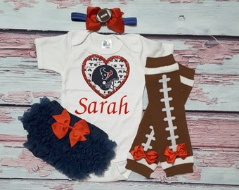 houstan texans baby girl outfit - baby girl texans outfit - girls texans football outfit - texans baby gift - houston texans football baby