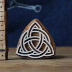 Wooden Printing Block Carved Stamp Viking Celtic Triquetra. Scrapbooking, Pottery, Ceramic, Fabric Blocks. Celtic Pagan Nordic Ornament