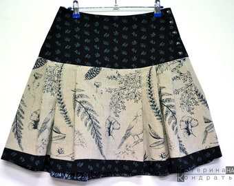 72c77a7c87 Boho Linen Designer Short Skirt Folk Pattern Handmade Dyed Natural Ethnic  Textile Fabric. Block Print Hand Crafts. Gift Idea. Eco Сlothes