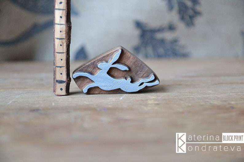 Pottery Wood carving. Textile Fabric Stamps Blocks Wooden Printing Block Carved Stamp Rabbit Bunny Hare Scrapbooking Leather