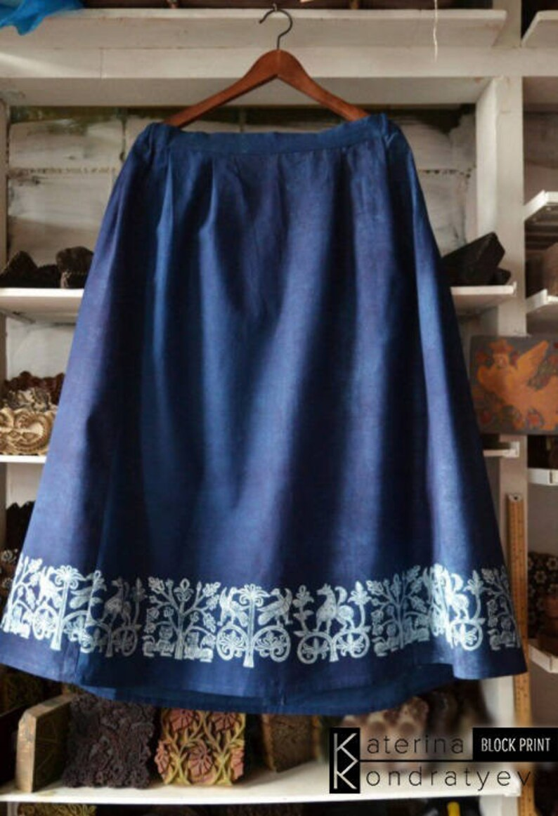 5fd5cb2bd4 Boho Linen Designer Skirt With Folk Pattern Handmade Dyed