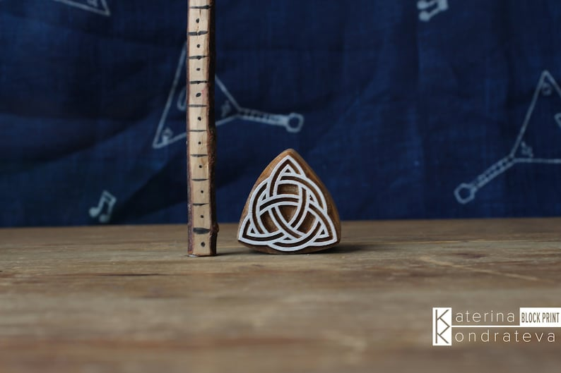 Wooden Printing Block Carved Stamp Viking Celtic Triquetra. image 0