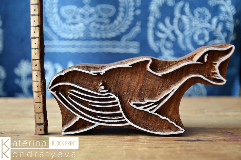Wooden Carved Stamp Ocean Sea Whale Scrapbooking Leather Pottery Ceramic Textile Fabric Printing Block Wood Carved Whales