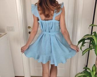 98542028077 Hand made 100% pure high quality Italian light blue linen dress with ruffles