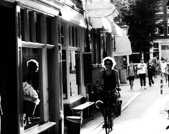 Amsterdam Street View Cyclist Black and White Photo Print