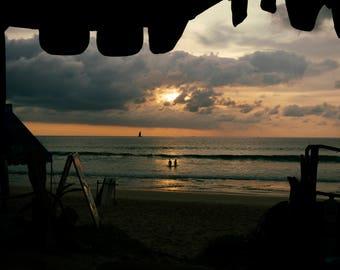 Thailand Beach Sunset Silhouette Photo Print