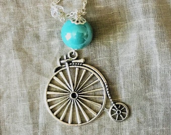 Necklace, penny-farthing, vintage, steampunk
