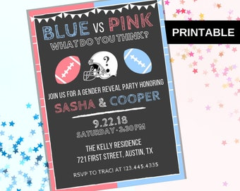 football gender reveal invitation printable football boy or girl gender reveal invitation printable pink vs blue gender reveal invite