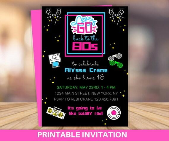 80s birthday party invitation 80s party invitation 80s etsy