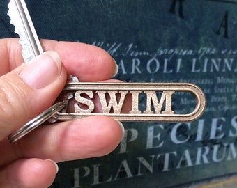 Swimming Keychain Gift for Swimmers, Swim Team Keyring, Lifeguard Gift, Competitive Swimmer, Triathlon Aquatics Water Sports