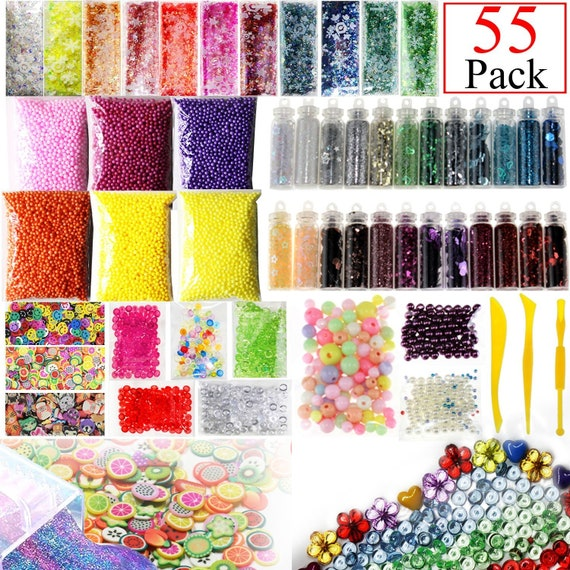 55 Pack Slime Making Kit Charms Fishbowl Beads Foam Balls Glitter Jars  Fruit Flower Animal Slices Pearls DIY Slime Tools Girl Slime Party