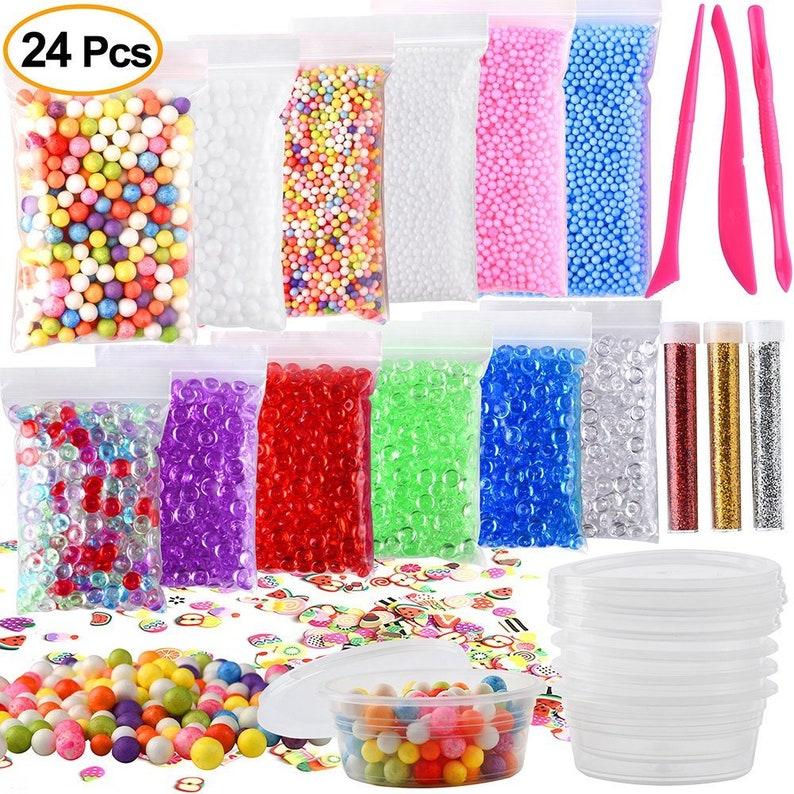 24-Pack Slime Making Kit Fishbowl Beads Foam Balls Styrofoam Confetti Fruit  Slices Slime Tools DIY Art Craft Homemade Slime Party Decoration