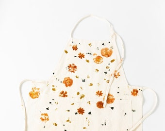 Floral Printed Botanically Dyed Linen Apron