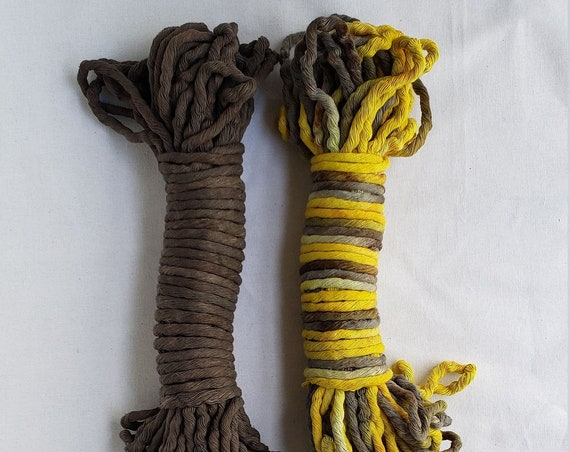 Two Pack Naturally Dyed 8 mm String / Hand Dyed Macrame Rope / Botanically Dyed Cord / Naturally Dyed Weaving Fiber