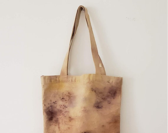 Botanically Dyed Canvas Tote Med/ Natural Dyed / Cotton Canvas Tote / Tote Bag /  Botanical Color / Organic Color / Hand dyed / Slow Fashion