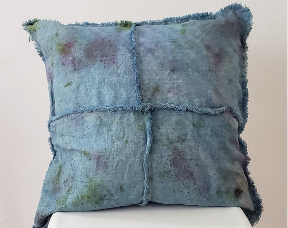 Botanically Dyed Cushion Cover / Linen Pillow/ Natural Dyed Pillow / Decorative Pillow / Hand dyed / Housewarming gift / Natural Color