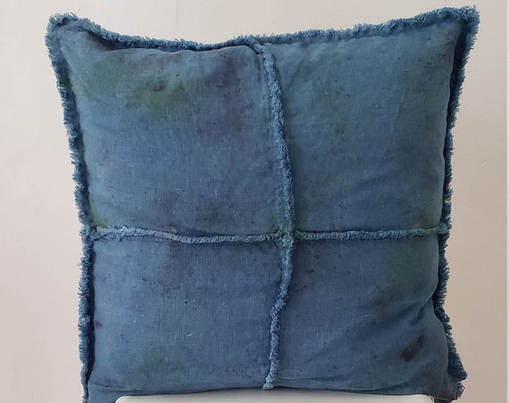 Botanically Dyed Cushion Cover / Linen Pillow/ Natural Dyed Pillow / Indigo / Hand dyed / Housewarming gift / Natural Color