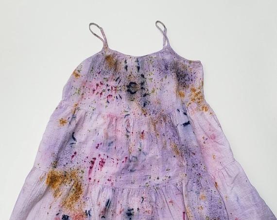 Botanically Dyed Cotton Gauze Summer Dress- SIZE L
