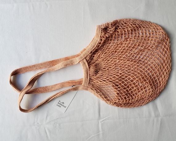 Botanically Dyed Market Tote / String Bag / Naturally Dyed / Pink Cotton Bag