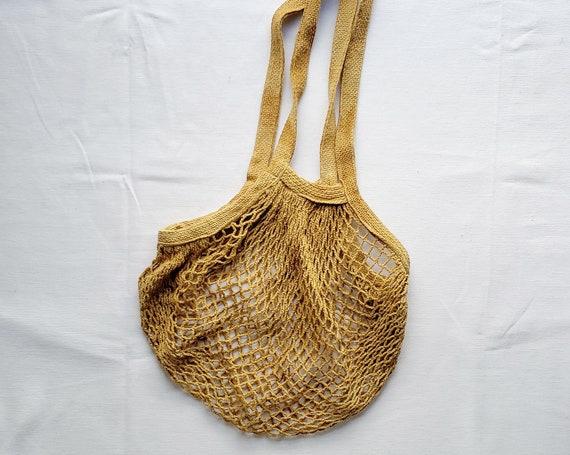 Botanically Dyed Market Tote / String Bag / Naturally Dyed / Yellow Cotton Bag