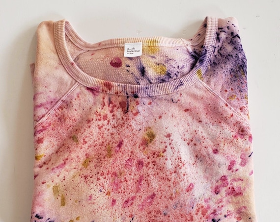 Size 3X- Botanically Dyed Cotton Sweatshirt/ Tie Dyed Sweatshirt / Naturally Dyed Sweatshirt