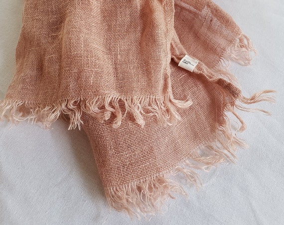Botanically Dyed Linen Gauze Scarf / Plant Dyed / Wrap / Naturally Dyed / Dyed Linen / Eco Fashion / Pink Scarf / Lightweight Cotton Scarf