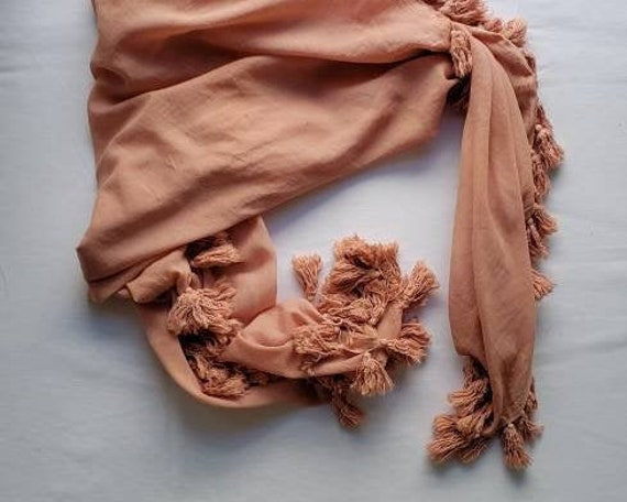 Pink Avocado Dyed Cotton Tassel Scarf / Botanically Dyed / Pink Scarf / Dyed Wrap