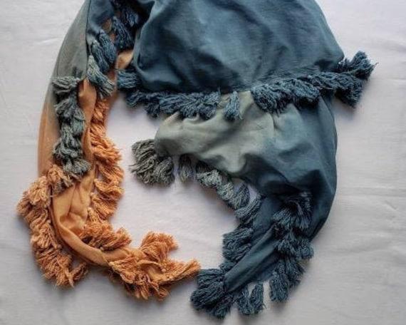 Indigo and Madder Dyed Cotton Tassel Scarf / Botanically Dyed/ Indigo Scarf with Poms/ Dipped Dyed Scarf