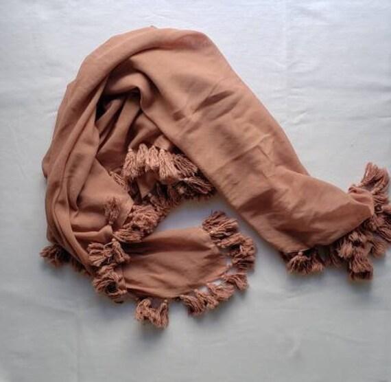 Pink Naturally Dyed Cotton Tassel Scarf / Botanically Dyed/ Quebracho Rojo Scarf
