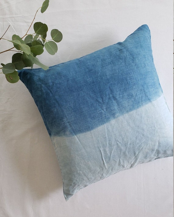 Indigo Dyed Linen Pillow Cover/ Natural Dyed Pillow / Decorative Pillow / Hand dyed / Housewarming gift / Silk Pillow