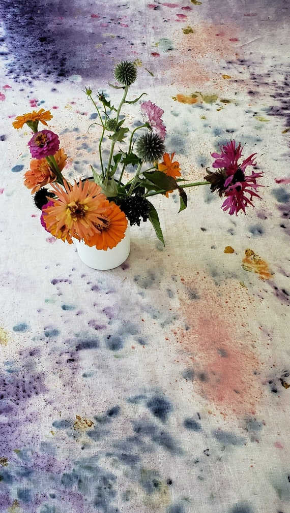 Botanically Bundle Dyed Linen Table Cloth