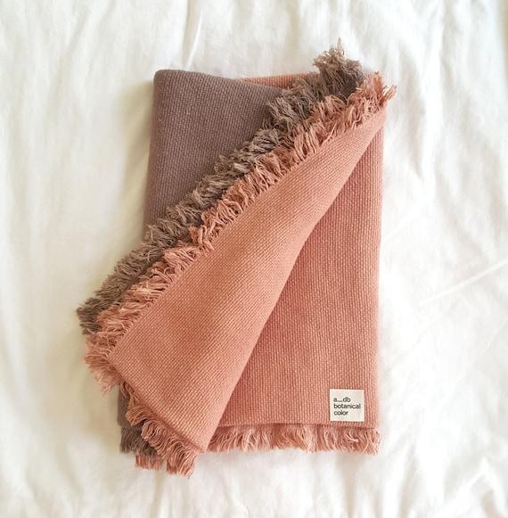 Botanically Dyed Cotton Blanket | Dip Dyed Blanket | Natural Dyed Cotton Throw | Avocado Dyed | Pink Blanket | Purple Throw | Housewarming