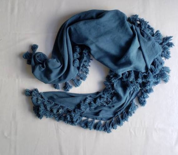 Indigo Dyed Cotton Tassel Scarf