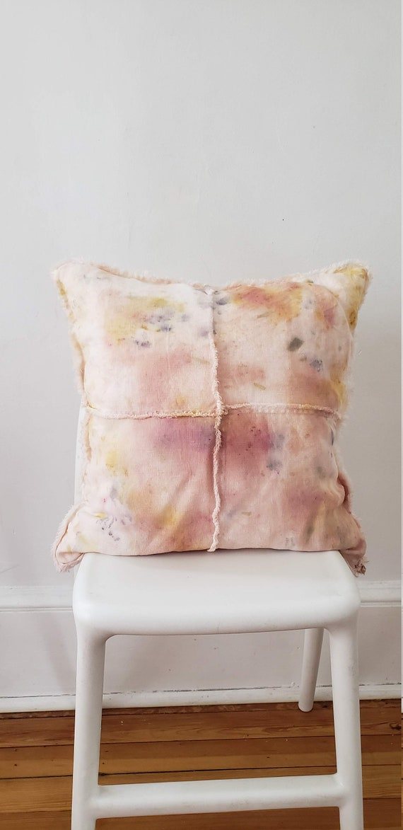 Botanically Dyed Cushion Cover / Linen Pillow/ Natural Dyed Pillow / Bundle Dyed / Hand dyed / Housewarming gift / Natural Color