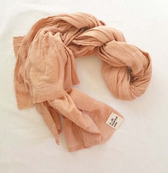 Botanically Dyed Cotton Gauze Scarf / Plant Dyed / Wrap / Naturally Dyed / Dyed Cotton / Eco Fashion / Pink Scarf / Lightweight Cotton Scarf