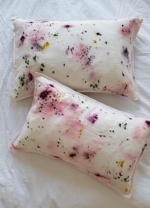 Bundle dyed linen throw pillow